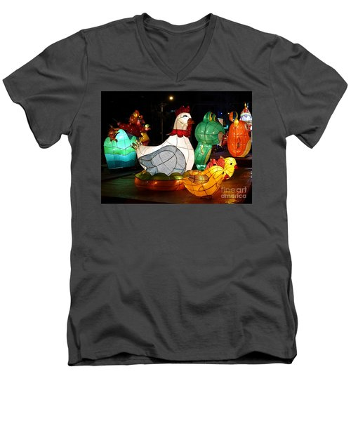 Men's V-Neck T-Shirt featuring the photograph The 2017 Lantern Festival In Taiwan by Yali Shi