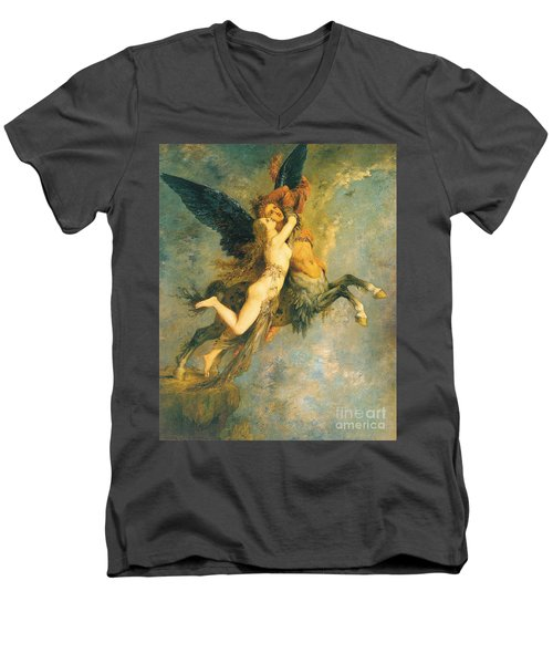 The Chimera Men's V-Neck T-Shirt by Gustave Moreau