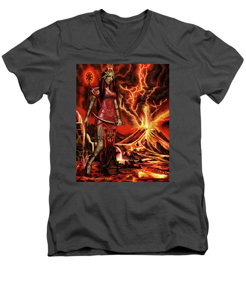 The Goodess Pele Of Hawaii Men's V-Neck T-Shirt by James Christopher Hill