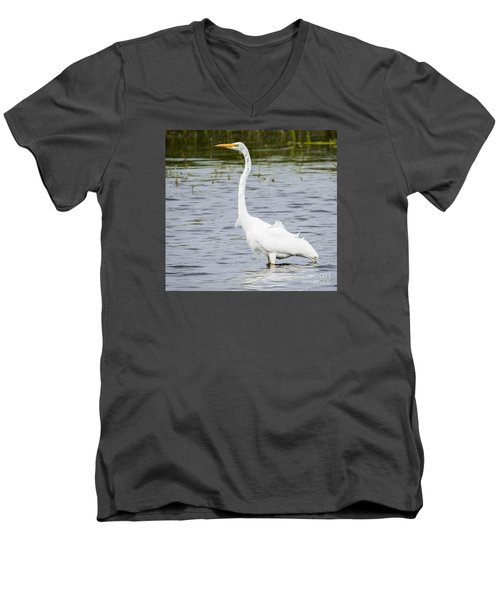 Men's V-Neck T-Shirt featuring the photograph The Great White Egret by Ricky L Jones