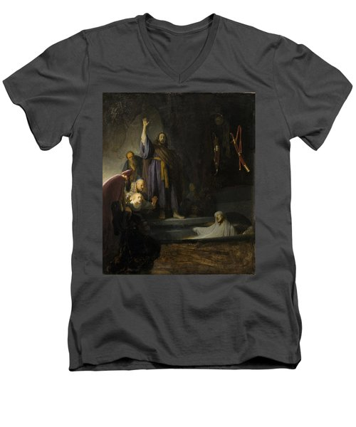 The Raising Of Lazarus Men's V-Neck T-Shirt by Rembrandt