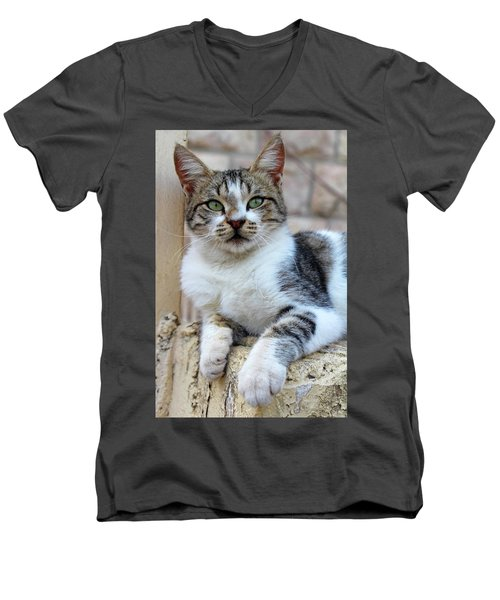 Men's V-Neck T-Shirt featuring the photograph The Wait by Munir Alawi