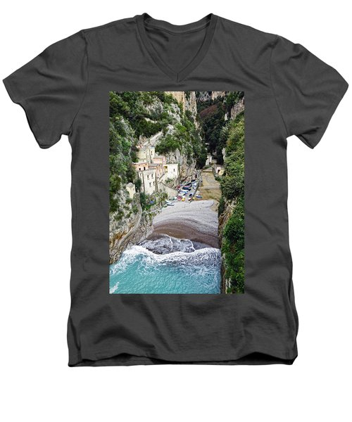 This Is A View Of Furore A Small Village Located On The Amalfi Coast In Italy  Men's V-Neck T-Shirt