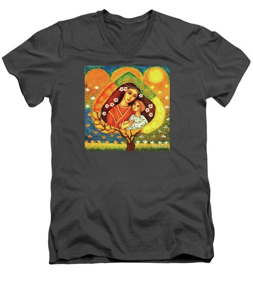 Men's V-Neck T-Shirt featuring the painting Tree Of Life by Eva Campbell