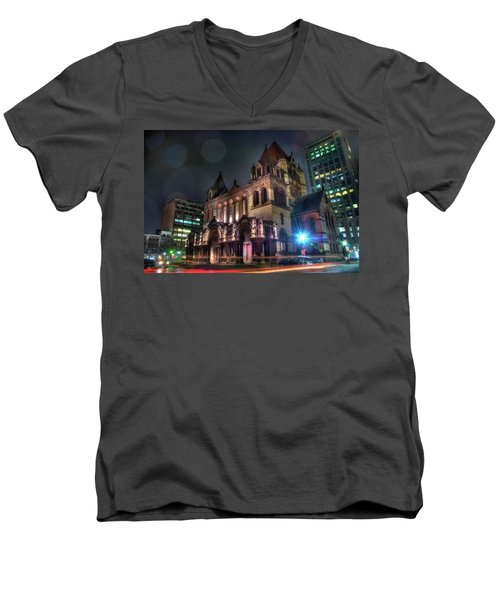 Men's V-Neck T-Shirt featuring the photograph Trinity Church - Copley Square Boston by Joann Vitali