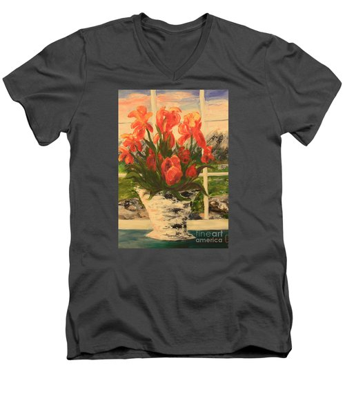 Men's V-Neck T-Shirt featuring the painting Tulips by Nancy Czejkowski