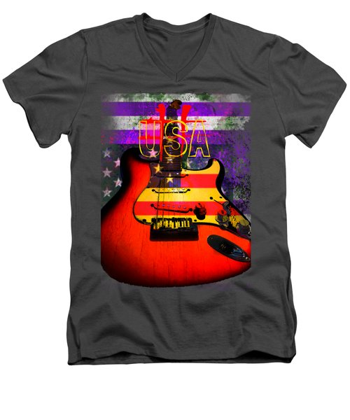 Men's V-Neck T-Shirt featuring the photograph Usa Strat Guitar Music by Guitar Wacky