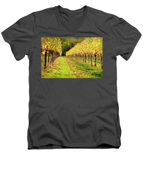 Vineyard In The Fall Men's V-Neck T-Shirt