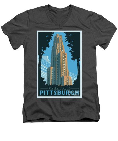 Vintage Style Pittsburgh Travel Poster Men's V-Neck T-Shirt by Jim Zahniser