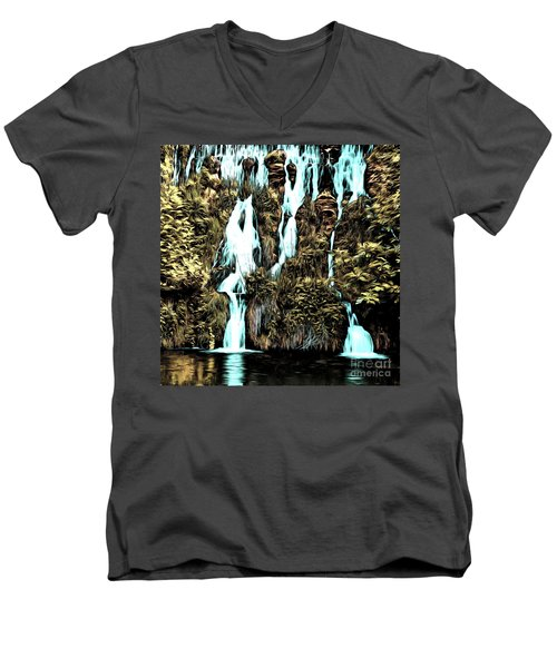 Waterfall Painting Men's V-Neck T-Shirt