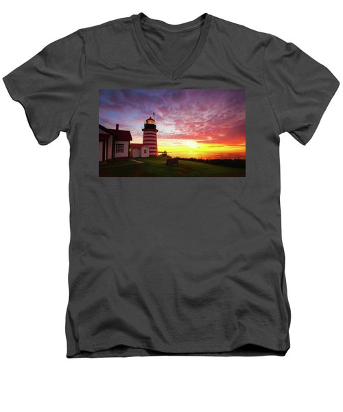 West Quoddy Head Light Men's V-Neck T-Shirt