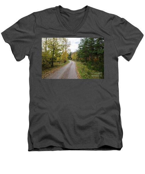 Men's V-Neck T-Shirt featuring the photograph Winding Gravel Road by Kennerth and Birgitta Kullman