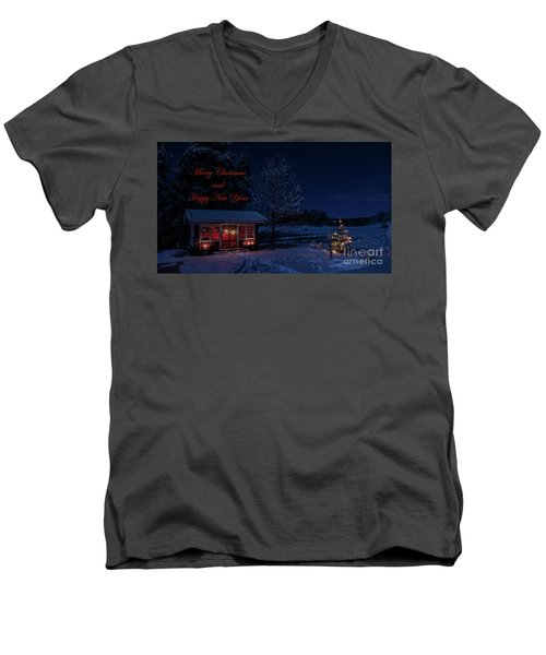 Men's V-Neck T-Shirt featuring the photograph Winter Night Greetings In English by Torbjorn Swenelius