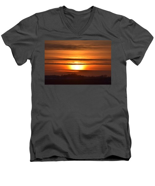 Men's V-Neck T-Shirt featuring the photograph Winter Sunset by Dacia Doroff