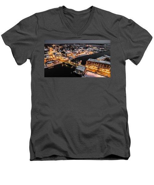 Winter Twilight In Mystic Connecticut Men's V-Neck T-Shirt by Petr Hejl
