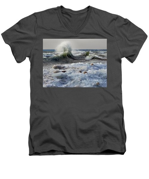 Winter Waves At Whitefish Dunes Men's V-Neck T-Shirt