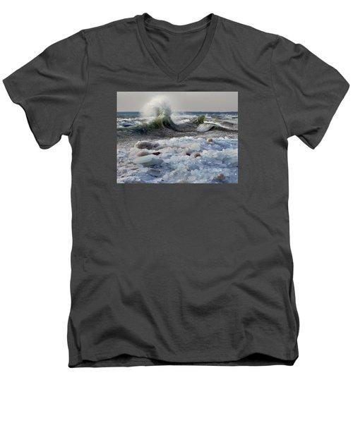 Winter Waves At Whitefish Dunes Men's V-Neck T-Shirt