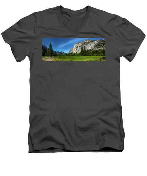 Yosemite Valley Meadow Panorama Men's V-Neck T-Shirt