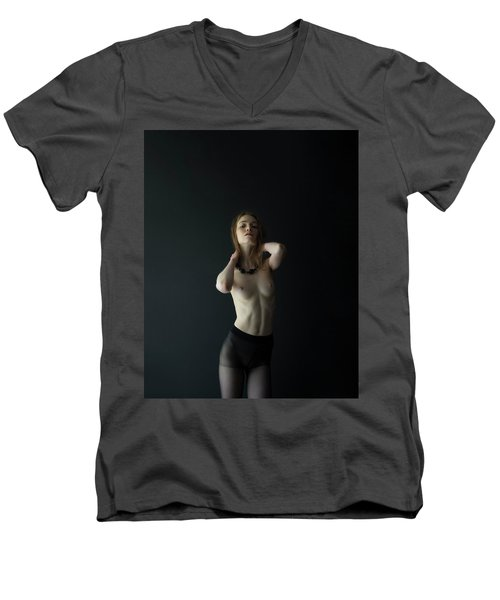 Young Woman In Pantyhose Men's V-Neck T-Shirt