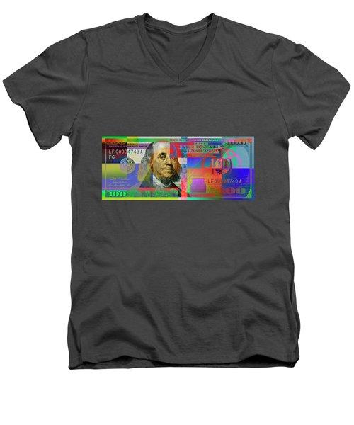 2009 Series Pop Art Colorized U. S. One Hundred Dollar Bill No. 1 Men's V-Neck T-Shirt by Serge Averbukh