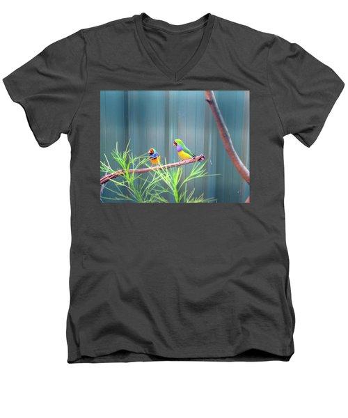 Aussie Rainbow Lovebirds Men's V-Neck T-Shirt