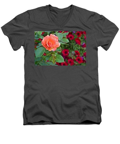 2015 Fall Equinox At The Garden Sunset Rose And Petunias Men's V-Neck T-Shirt