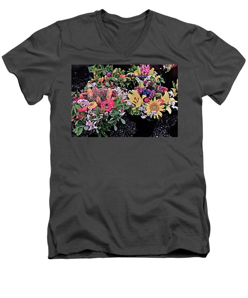 2015 Monona Farmers Market Flowers 1 Men's V-Neck T-Shirt