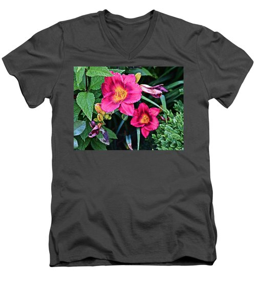 2015 Summer At The Garden Strawberry Candy Daylily 2 Men's V-Neck T-Shirt