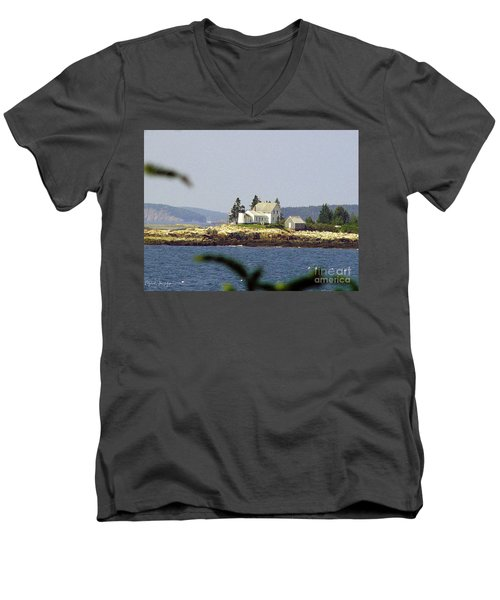 2015 Winter Harbor Light Men's V-Neck T-Shirt
