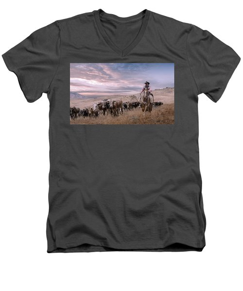 2016 Reno Cattle Drive Men's V-Neck T-Shirt by Rick Mosher