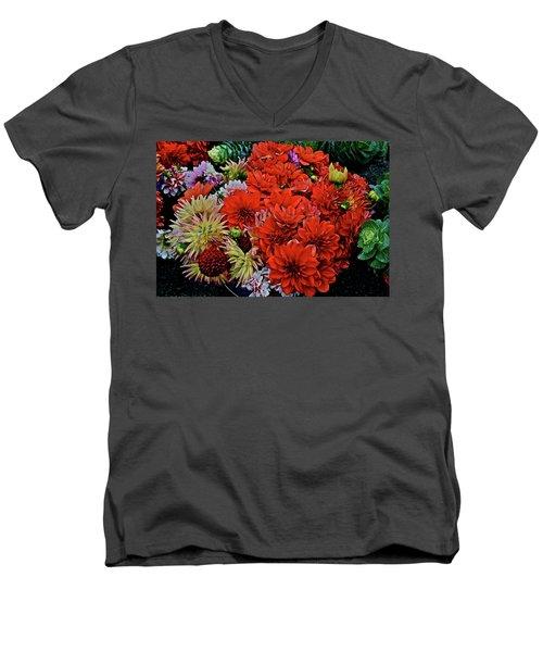 2017 Mid October Monona Farmers' Market Buckets Of Blossoms 1 Men's V-Neck T-Shirt