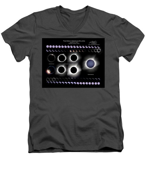 2017 Solar Eclipse Collage Men's V-Neck T-Shirt