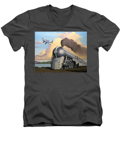 20th Century Limited And Plane Men's V-Neck T-Shirt