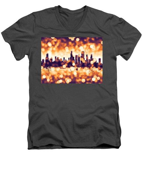 Chicago Illinois Skyline Men's V-Neck T-Shirt by Michael Tompsett