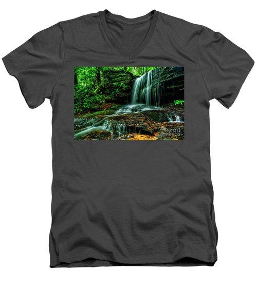 West Virginia Waterfall Men's V-Neck T-Shirt