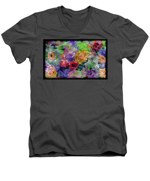 Men's V-Neck T-Shirt featuring the painting 21a Abstract Floral Painting Digital Expressionism by Ricardos Creations