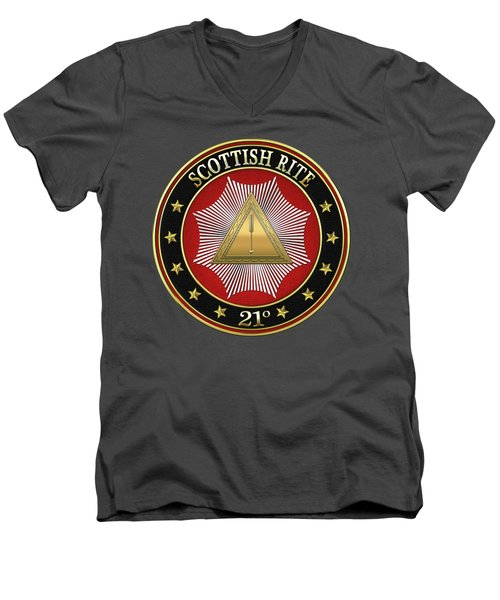 21st Degree - Noachite Or Prussian Knight Jewel On Red Leather Men's V-Neck T-Shirt by Serge Averbukh
