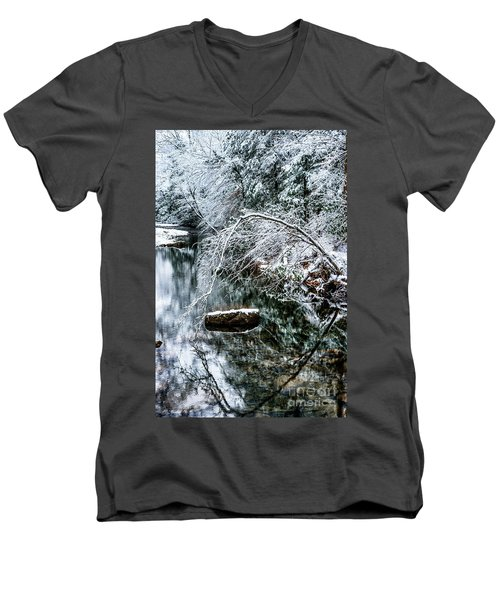 Men's V-Neck T-Shirt featuring the photograph Winter Along Cranberry River by Thomas R Fletcher
