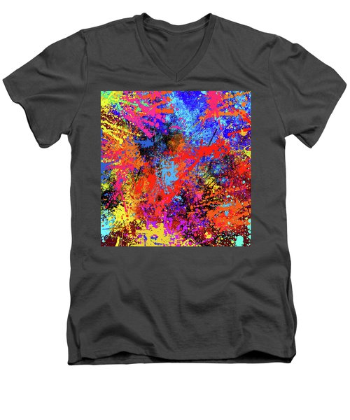 Men's V-Neck T-Shirt featuring the painting Abstract Composition by Samiran Sarkar