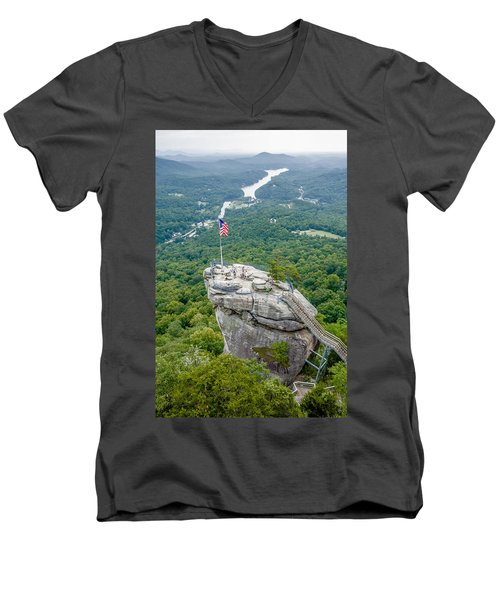 Lake Lure And Chimney Rock Landscapes Men's V-Neck T-Shirt