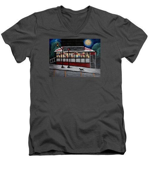Men's V-Neck T-Shirt featuring the painting 24 Hour Diner by Victoria Lakes