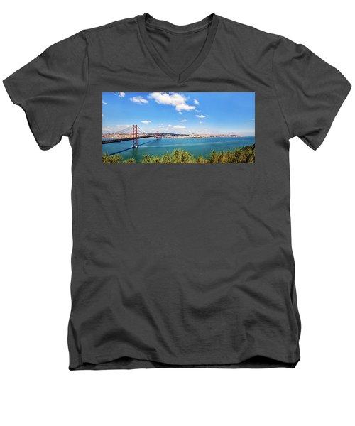 25th April Bridge Lisbon Men's V-Neck T-Shirt by Marion McCristall