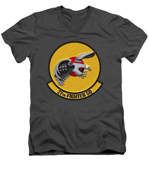 Men's V-Neck T-Shirt featuring the digital art 27th Fighter Squadron - 27 Fs Over Blue Velvet by Serge Averbukh