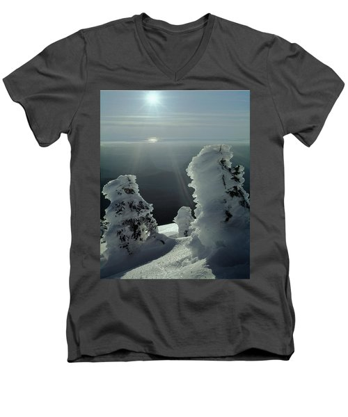 2m4415 A Ice Covered Trees Over Puget Sound Men's V-Neck T-Shirt