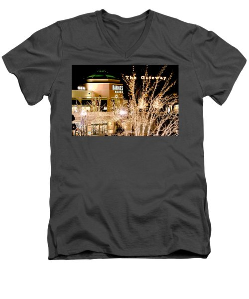 Men's V-Neck T-Shirt featuring the digital art After Closing by Gary Baird