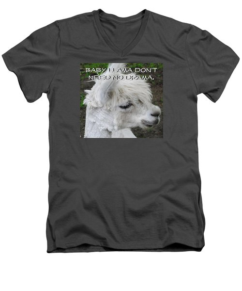 Baby Llama Men's V-Neck T-Shirt by Ellen Henneke