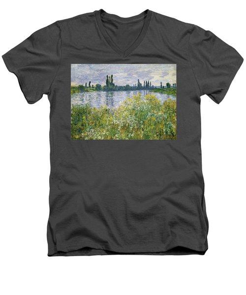 Banks Of The Seine, Vetheuil Men's V-Neck T-Shirt