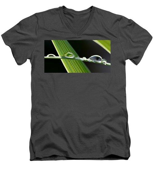 Big Rain Drops On Leaf Men's V-Neck T-Shirt