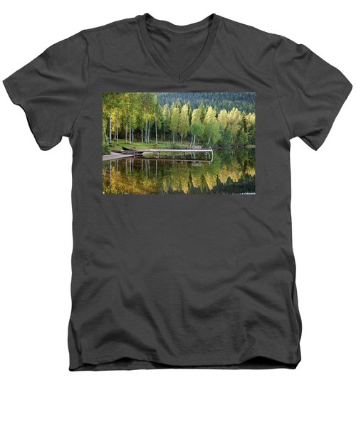 Birches And Reflection Men's V-Neck T-Shirt by Aivar Mikko