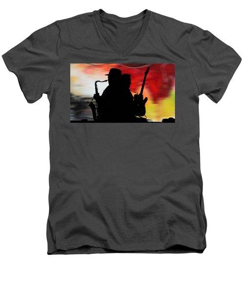 Bruce Springsteen Clarence Clemons Men's V-Neck T-Shirt by Marvin Blaine
